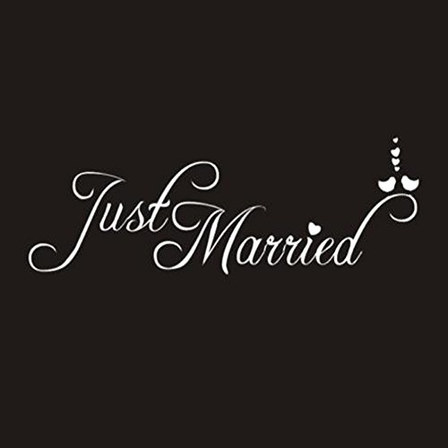 (xxiaoTHAWxe Just Married Letter Car Window Waterproof Sticker Decal Decor Wedding Supplies - White)