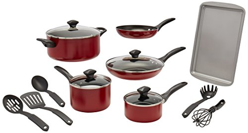 Farberware Dishwasher Safe Nonstick 15-Piece Cookware Set, Red