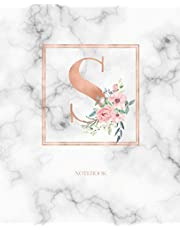 Notebook: Marble Rose Gold Monogram Initial Letter S with Marble and Pink Floral Notebook Journal for Women, Girls and School Wide Rule (7.5 in x 9.25 in)