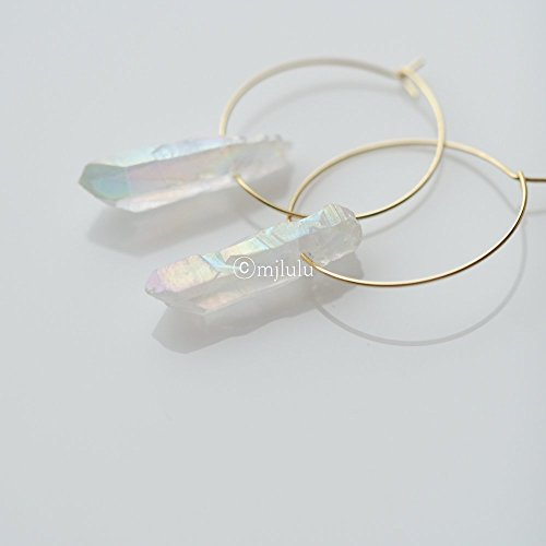 Clear Raw Crystal Quartz Stone Bar Hoop Earrings
