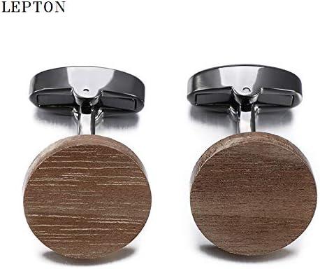 Antique Silver Plated SELITE Hot Sale Wood Cufflinks For Mens Man Jewelry Round black Cuff links Men Shirt Cuffs Cufflinks