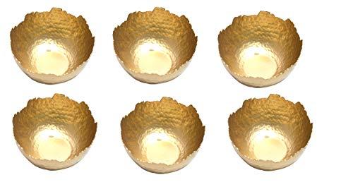 Jaipur handicrafts hub portavelas de te Hecho a Mano con Purpurina martillada, Paquete de 6, portavelas Flotante Decorativo, tazon de Centro de Mesa (Co