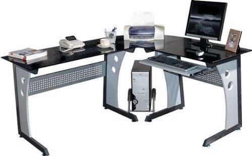 Computertisch glas schwarz  Myhomeoffice24 Computertisch Schreibtisch in praktischer Winkel L ...