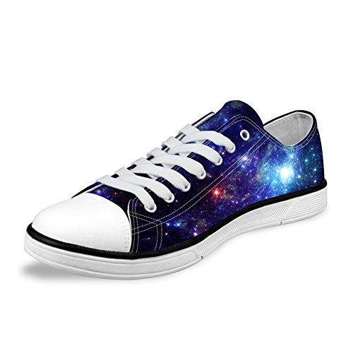 FOR U DESIGNS Stylish Galaxy Print Light Weight Lace Up Canvas Sneaker Awesome Men's Shoes US 11