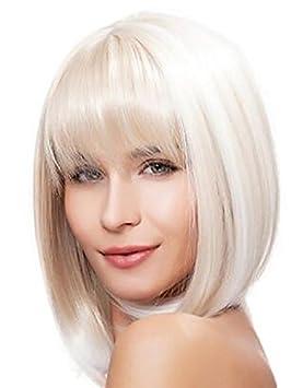 Bob Haned Cosplay Corta Pelo Blanco pelucas para las mujeres europeas y americanas corta peluca Blanca