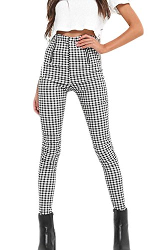 Women Vintage High Waisted Pants Zip up Checkered Pencil Pants Black ()