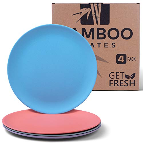 Get Fresh Bamboo Plates 4 Pack, Bamboo Dinnerware, Eco-Friendly Dinnerware Set, BPA Free (Multiple Colors), Bamboo Fiber Plates for Healthy Dining