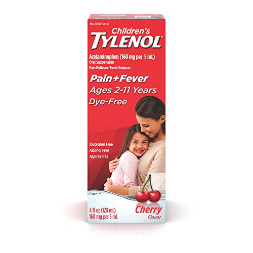 Tylenol Oral Suspension Children's Acetaminophen for Ages 2 to 11, Stage 2, Cherry Flavor Dye-Free, 4 Ounce