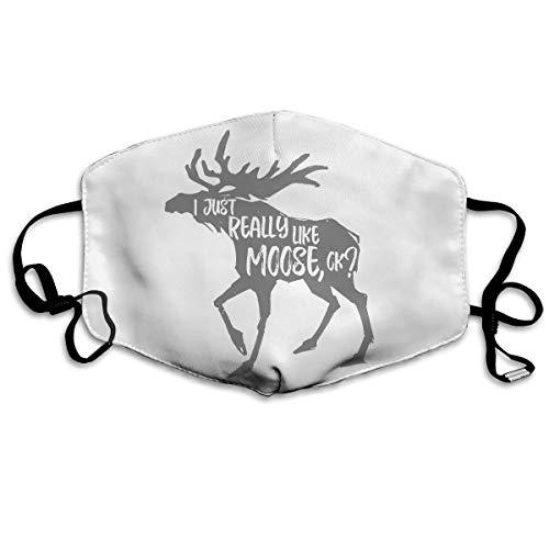 - Unisex Anti-dust Face Mask I Just Really Like Moose Mouth Mask Reusable White