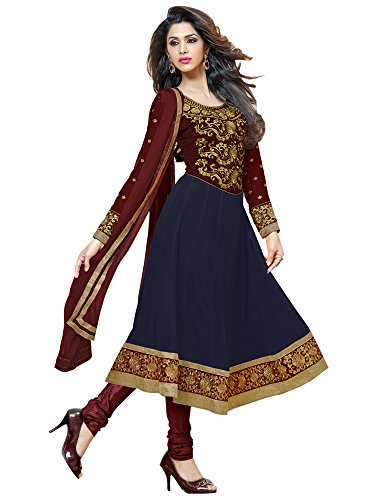 (Sourbh Women Navy Blue Faux Georgette Embroidered Semi-Stitched Partywear DressMaterial)