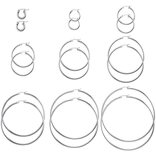 Jstyle 9Pairs Stainless Steel Hoop Earrings for Women Girls Silver Plated Huggie Hoop Earrings Set Multiple Sizes ()