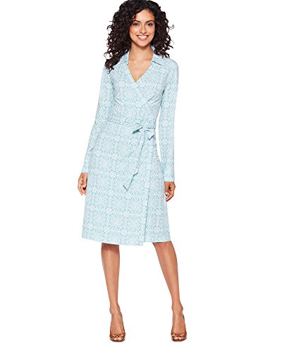 Pendleton Medallion Print Wrap Knit Dress, Aqua, X-Large Petite
