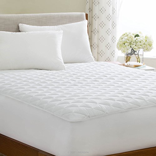 Linenspa Waterproof Quilted Mattress Pad Hypoallergenic Fill Deep Pocket Fitted Skirt King