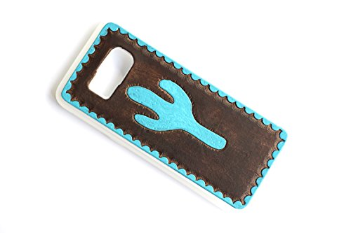 Leather Galaxy S9 Plus Case | Turquoise Cactus | The Lodgepole Case | Handmade Galaxy Note Case Hard Back Slim Fit 6.2'' Silicone Edges Protective Cowhide by Lodgepole Leathercraft