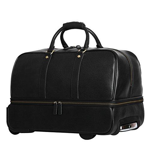 Leathario Men's Leather Luggage Wheeled Duffle, Leather Travel Bag (Black) by Leathario (Image #1)