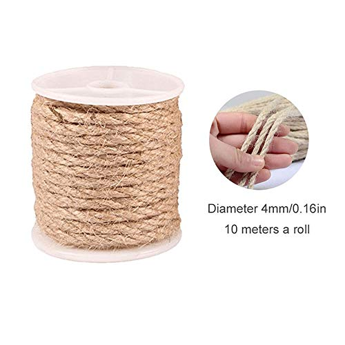 Aolvo Natural Jute Twine 32.8 Ft Arts Crafts Durable Twine for Industrial, Packaging, Crafts, Gift, Cat Scratching Post, Decoration, Bundle, Gardening and Home (3mm 4mm 5mm)