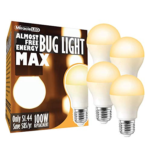 (MiracleLED 602007 Almost Free Energy Light 12W (4-Pack) AFE Bug MAX, Amber Glow)