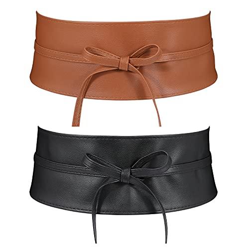 2 Pack Women Faux Leather Wide Belts Fashion Obi Bowknot Lace Up Wrap Around Ladies Dress Belts ( Black+Brown, Suits waist size 25''-30'')