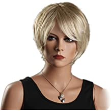 Blonde Cool Short Bob Gold Slight Curly Wave Side Swept Fringe Bang Hairstyle Hair Style For Women Lady Wig