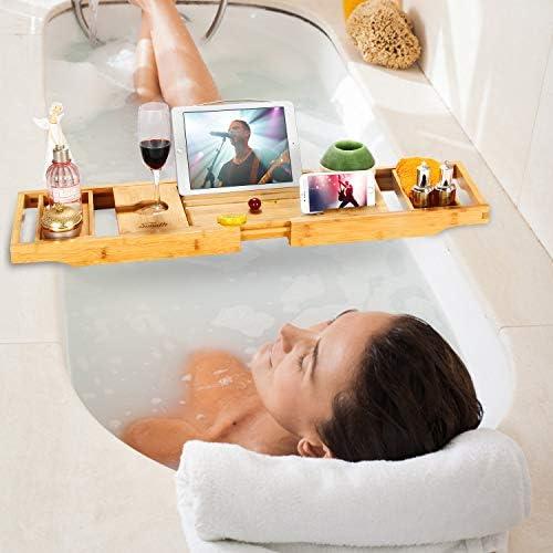 Simath Bamboo Bathtub Caddy Tray,Water /& Mildew Resistant Grey