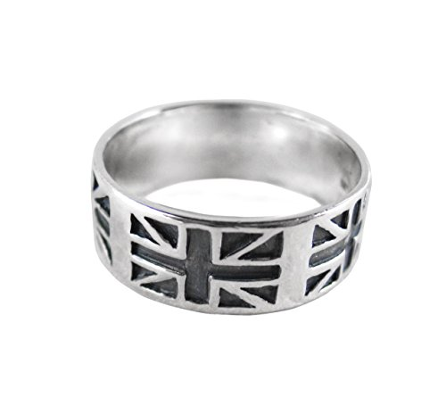 Sterling Silver Union Jack Band Ring, Size 11 - Silver Union Jack