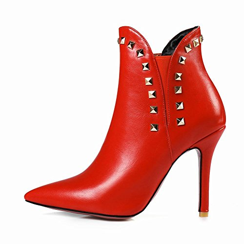 Latasa Womens Studded Pointed-toe High Heels Ankle Dress Boots Red BPPYGPWj