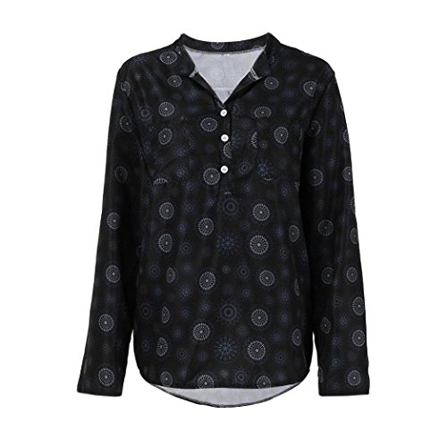 Toimoth Plus Size Women Print Vest Long Sleeve Polka Dot Button Blouse Pullover Tops Shirt(Black,S)