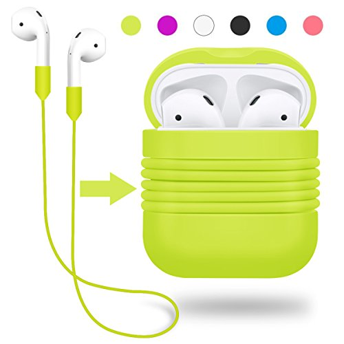 Ear Straps - Yometome AirPods Case, Shockproof Silicone Protective Cover Apple Wireless Earbuds Accessories Skin with Earphone Sports Anti-lost Strap for Apple Airpods Charging Skin Ear HookCase Fluorescent Green