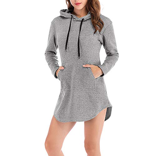 Londony ♥‿♥ Solid Pullover for Women Causal Hoodie Tunic Dress Loose Sweater Hoodie Tops Sweatshirt Long Tops from Londony❤ღ♕