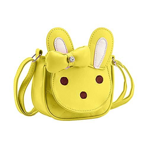 Kids Shoulder Bag Crossbody Purse Mini Cartoon Animal Preschool Messenger Handbag for Children Toddler Baby Girls DEEKEY (Rabbit Yellow)