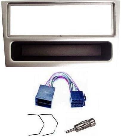Kit para instalación de radio para Opel Corsa (incluye adaptador para antena, cable y llaves ISO y carcasa), color plateado