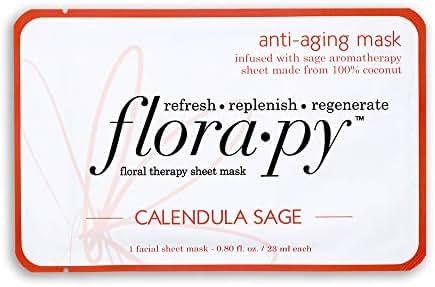 Florapy Beauty Anti-aging Sheet Aromatherapy Mask, Calendula Sage, 1 Count