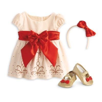 - American Girl Bitty Baby - Cream and Crimson Ouftif for Dolls - Bitty Baby 2015