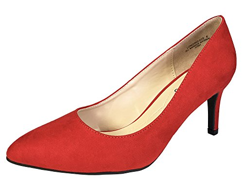 Low Heel Pointy Toe (Bamboo Women's Mid Heel Plain Pump, Red Faux Suede, 9.0 B (M) US)