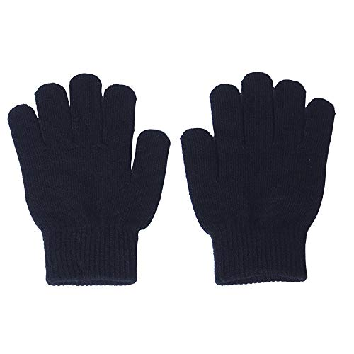 (Knit Mittens Gloves For Kids Winter Magic Knit Gloves for Girls/Boys Solid Warm Gloves)