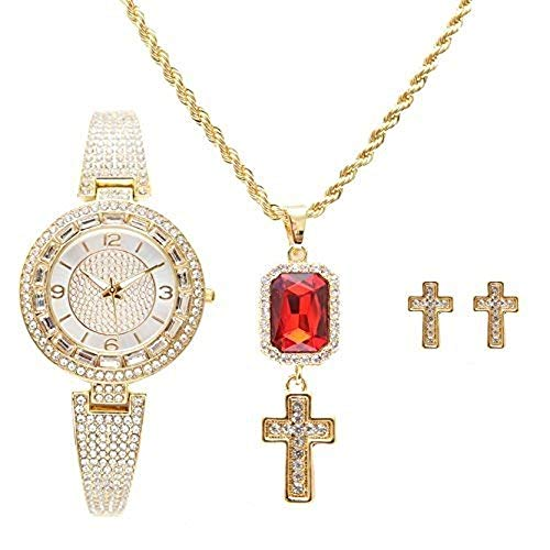 (Shine Like a Diamond Bling Bling Ladies Baguette Rhinestone Luxurious Watch with Cross Ruby Red Charm Necklace and Matching Gold Cross Earrings - RRR11D -LW10028 Gold Cross Set)
