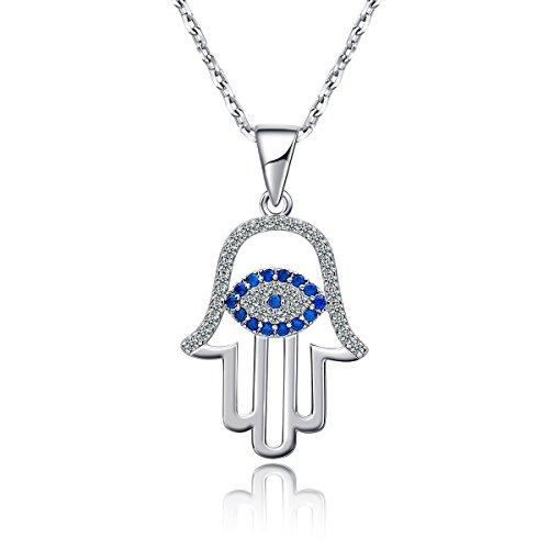 Pendant Hamsa Evil Eye - AMOFA 925 Sterling Silver Evil Eye&Hamsa White Blue Cz Womens Pendant Necklace