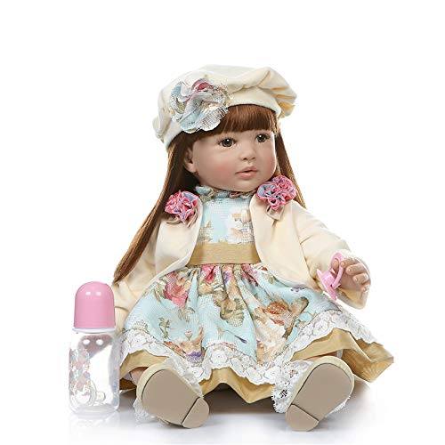 Lullaby Realistic Reborn Toddler Dolls Girls with Long Hair Look Real Soft Vinyl Toddler Dolls Silicone 24 Inches with Clothes