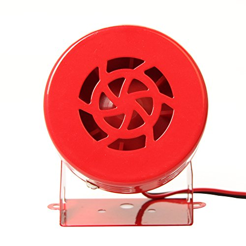 Fontic Red Metal 12V 115dB Electric Motor Driven Horn/Alarm/Siren (Air Raid) for Car Truck Motorcycle Yacht Boat