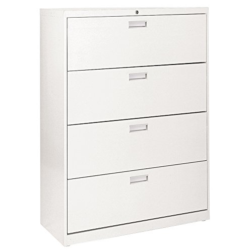 "Sandusky Lee LF6A424-22 600 Series 4 Drawer Lateral File Cabinet, 19.25"" Depth x 53.25"" Height x 42"" Width, White"