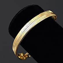 Mens 14K Yellow Gold Plated 8in Herringbone Link Bracelet 7 MM nn