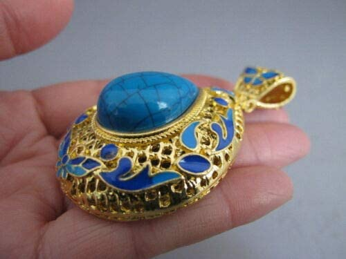 China old Tibetan silver gilt Cloisonne Turquoise Butterfly water-drop pendant