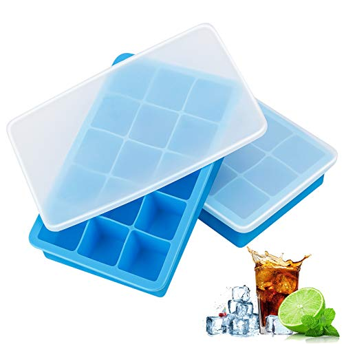 Ice Cube Tray with Lid, Ice Cube Trays Silicone, Ice Trays 2 Pack, Easy Release Flexible Large Ice Cube Moulds, Dish Washer Safe BPA Free, Best for Freezer Baby Food Water Whiskey Cocktail and Drink