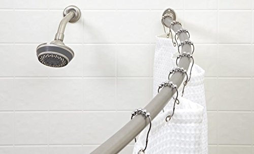 - Bath Bliss Wall Mounted Adjustable Curved Bathroom Shower Curtain Rod, 42