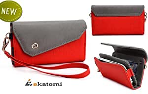Women's Wallet Mobile Phone Case Clutch fits Alcatel One Touch Idol - RED & GREY