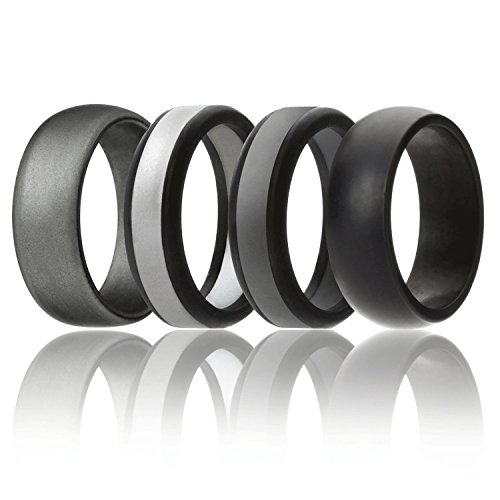 Silicone Wedding Ring For Men By SOLEED Rings (Power X Series), 4 Pack Silicone Rubber Wedding Band, Black, Grey, Silver - size 12 (Mens 12 Series)