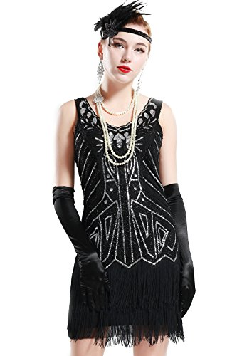 BABEYOND Women's Flapper Dresses 1920s V Neck Beaded Fringed Great Gatsby Dress (X-Large, Black)