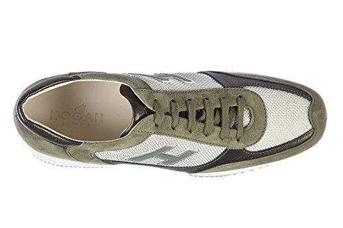 Hogan scarpe sneakers donna camoscio nuove interactive H specchietti verde
