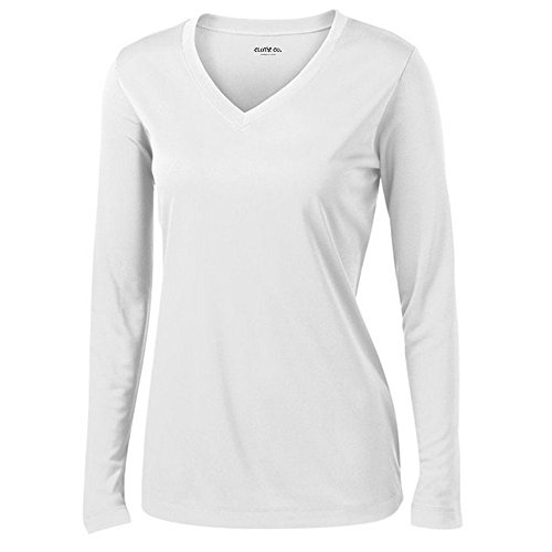 Clothe Co. Ladies Long Sleeve V Neck Moisture Wicking Athletic Shirt, White, L