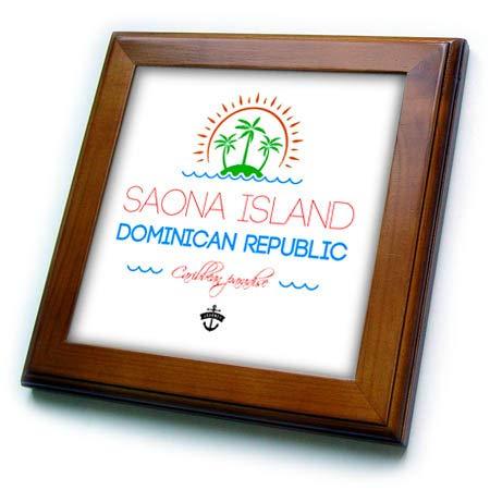 3dRose Alexis Design - Caribbean Beaches - Saona Island, Dominican Republic, Caribbean Paradise Text, Image - 8x8 Framed Tile (ft_304035_1) Dominican Republic Caribbean Framed
